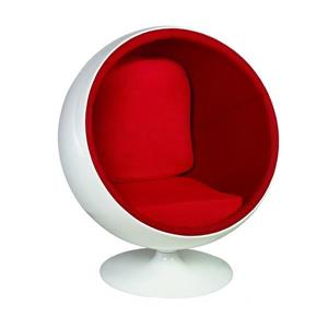 Plata Decor Ball Lounge Chair - White and Red