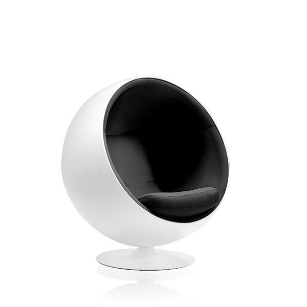 Plata Decor Ball Lounge Chair - White and Black