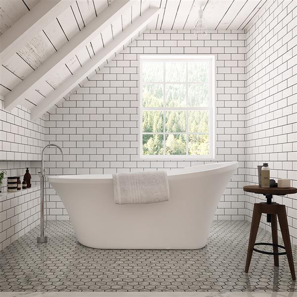 OVE Decors Rachel White Tub with Faucet - 70-in
