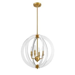 OVE Decors Isabelle 4-Lights LED Chandelier Light - Antique Gold and Clear