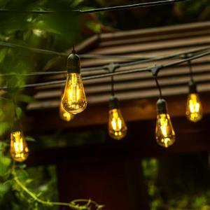 Guirlande luminaire DEL 24 ampoules d'OVE Décors, noir, 48 pi