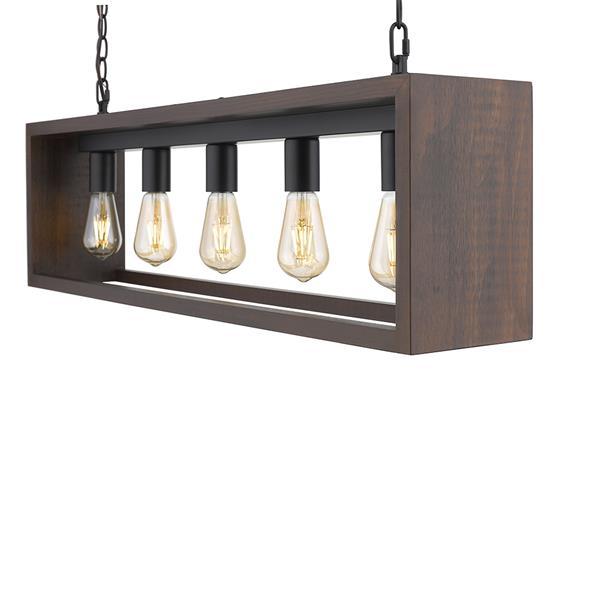 OVE Decors Flances V LED Pendant Light - Dark Brown Wood - 5-Lights
