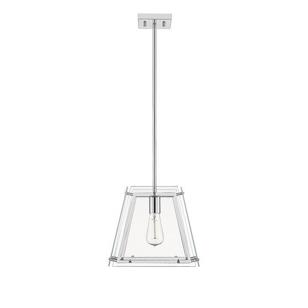 OVE Decors Evan I Chandelier Light 1-Light LED - Nickel and Glass