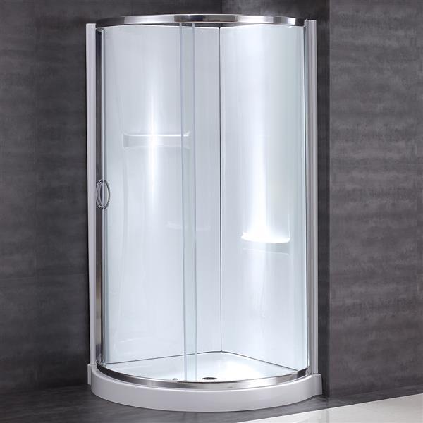 OVE Decors Breeze Corner Shower Kit with Door, Base & Walls - 36-in