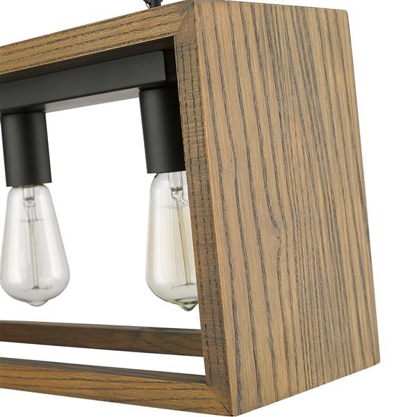 Lustre linéaire FlancesV d'OVE Décors en bois gris, 5 lumières
