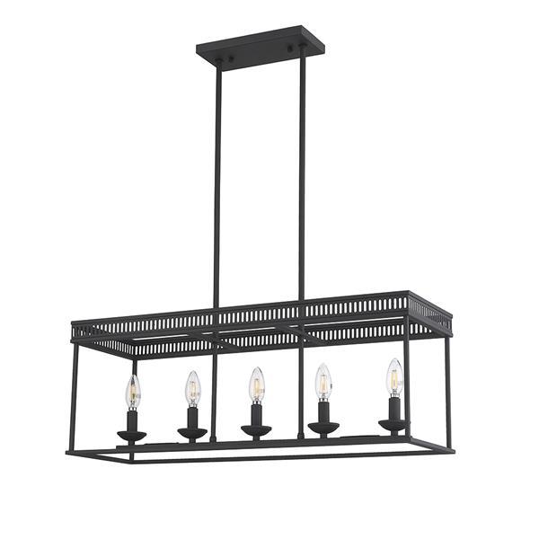 Luminaire suspendu HenryV d'OVE Décors, rectangulaire à cinq ampoules, noir