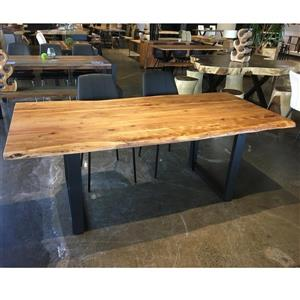 Corcoran Acacia Live Edge Solid Wood Table - 80-in - Black Metal U Legs
