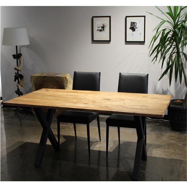 Corcoran Acacia Straight Edge Solid Wood Table - 67-in - Black Metal X Legs