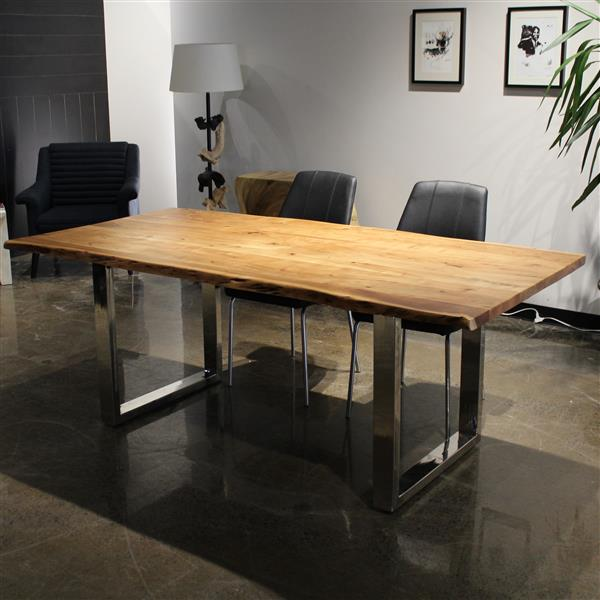 Corcoran Acacia Live Edge Solid Wood Table - 80-in - Stainless Steel U Legs