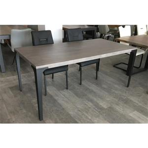 Corcoran Gray Acacia Dining Table - 70-in -  Black Metal Legs