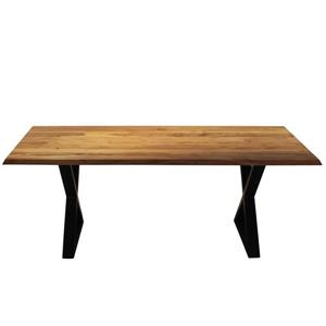 Corcoran Acacia Dining Table - 80-in - Black Metal X Legs