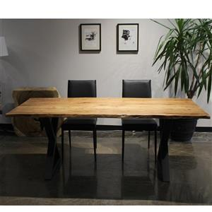 Corcoran Acacia Live Edge Solid Wood Table - 80-in - Black Metal X Legs