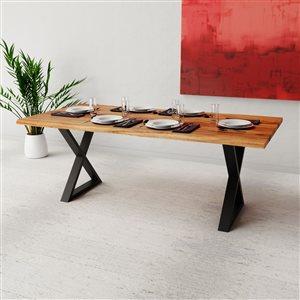 Table en acacia de Corcoran, bors naturels, 80 po, pattes en X en métal noir