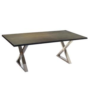 Corcoran Gray Acacia Dining Table - 80-in - Stainless Steel X Legs
