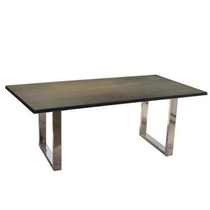 Corcoran Gray Acacia Dining Table - 80-in - Stainless Steel U Legs