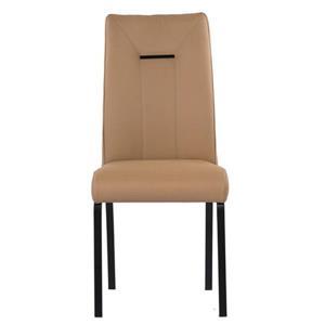 Chaise en cuir de Corcoran, moka avec base noire, ens. de 2