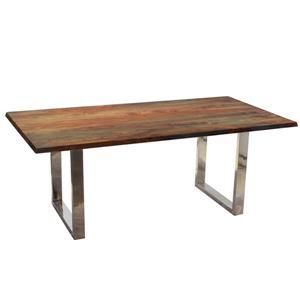 Table en bois de sheesham gris de Corcoran, 80 po, pattes en U en acier inoxydable
