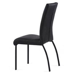 Chaise en cuir de Corcoran, noir avec base noire, ens. de 2
