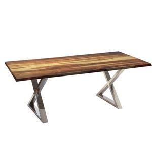 Table en bois de sheesham de Corcoran, 80 po, pattes en X en acier inoxydable