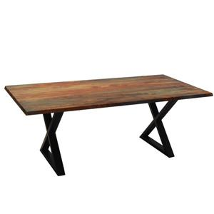 Corcoran Gray Sheesham Dining Table - 80-in - Black Metal X Legs