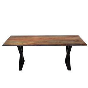 Table en bois de sheesham gris de Corcoran, 80 po, pattes en X en métal noir