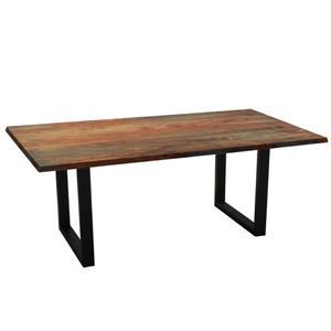 Table en bois de sheesham gris de Corcoran, 80 po, pattes en U en métal noir