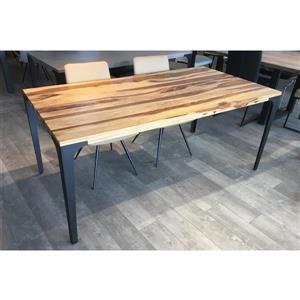 Table en bois de sheesham de Corcoran, 70 po, pattes en métal noir