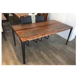 Corcoran Gray Sheesham Dining Table - 70-in - Black Metal Legs