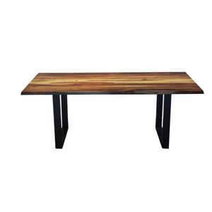 Table en bois de sheesham de Corcoran, 80 po, pattes en U en metal noir