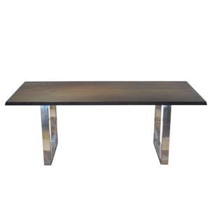 Table en acacia noisette de Corcoran, 80 po, pattes en U en acier inoxydable