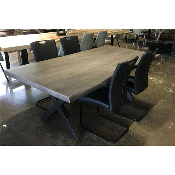 Corcoran Gray Acacia Live Edge Dining Table - 84-in - Black Metal X Legs