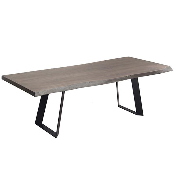 Corcoran Gray Acacia Live Edge Dining Table - 84-in - Black Metal Victor Legs