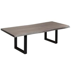 Corcoran Gray Acacia Live Edge Dining Table - 84-in - Black Metal U Legs