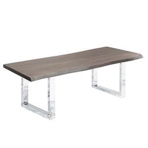 Table en bois d'acacia gris de Corcoran, 84 po, bords naturels, pattes en U en acier inoxydable
