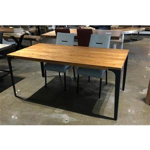 Corcoran Acacia Dining Table - 70-in - Black Metal Legs