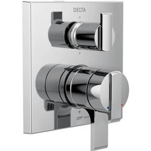 Garniture de valve moderne à 2 poignées Monitor Série 17 de Delta, inverseur intégré, 6 réglages, chrome