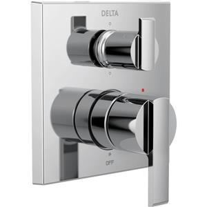Garniture de valve moderne à 2 poignées Monitor Série 14 de Delta, inverseur intégré, 6 réglages, chrome