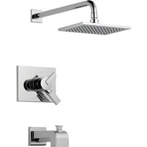 Garniture de baignoire et douche Vero Série 17 de Delta, pommeau de douche intégré, chrome