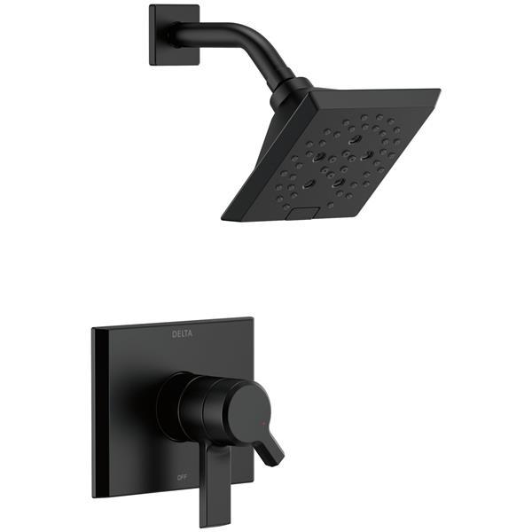 Garniture de douche Pivotal Série 17 de Delta, technologie H2Okinetic, noir mat