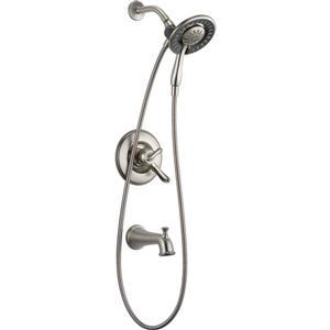 Garniture de baignoire et douche Linden Série 17 de Delta, douchette intégrée, acier inoxydable