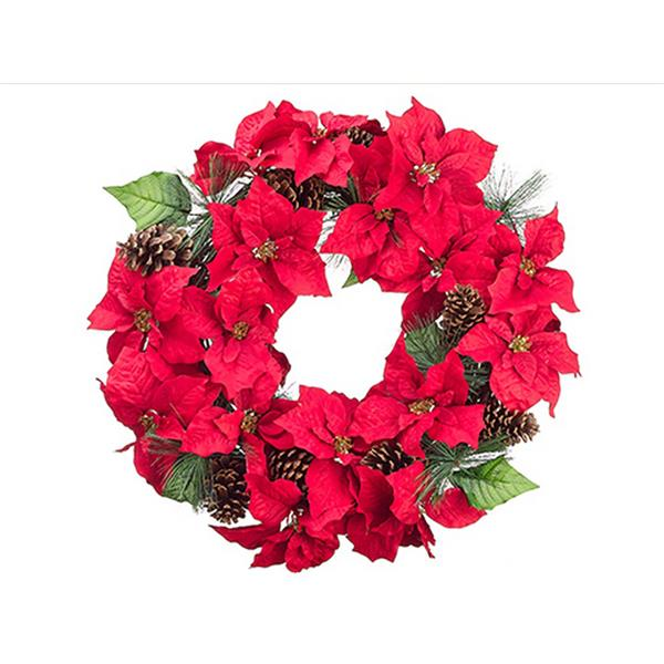 Allstate Poinsettia and Pinecone Christmas Wreath - 30-in - Red