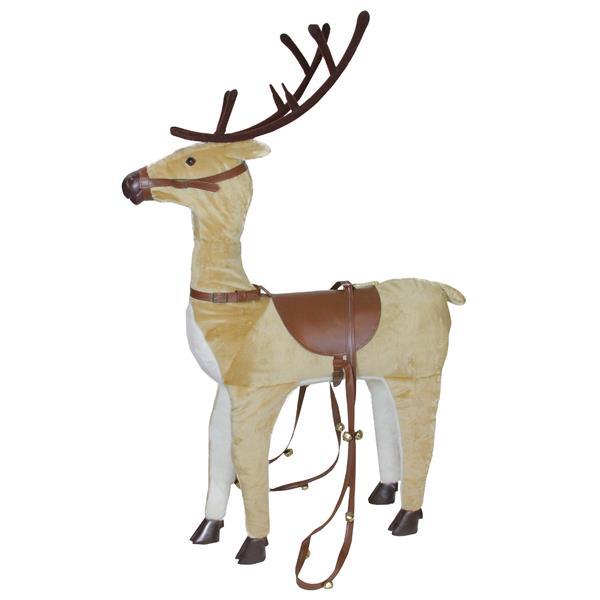Northlight Plush Reindeer Christmas Decor with Saddle and Jingle Bells
