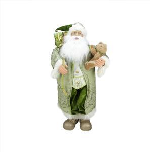 Northlight Santa Claus Christmas Figure with Teddy Bear and Gift Bag