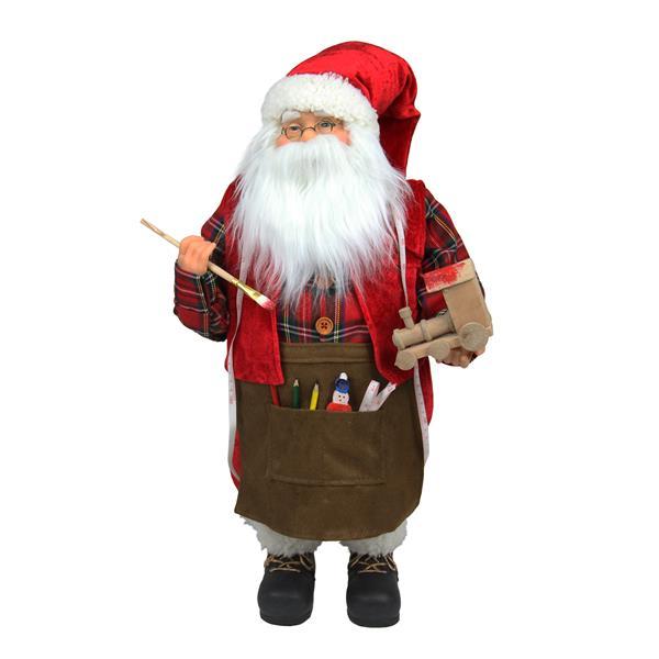 Northlight Animated Santa Claus Painting a Toy Train Christmas Decor