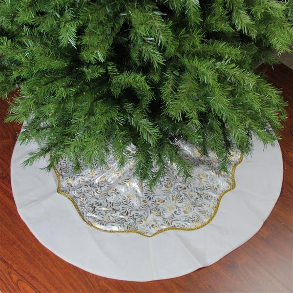 Northlight Christmas Tree Skirt with Velvet Trim - 48-in - Gold/Silver