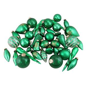 Northlight Asymmetrical Christmas Ornaments - 36 Pieces - Green/Gold