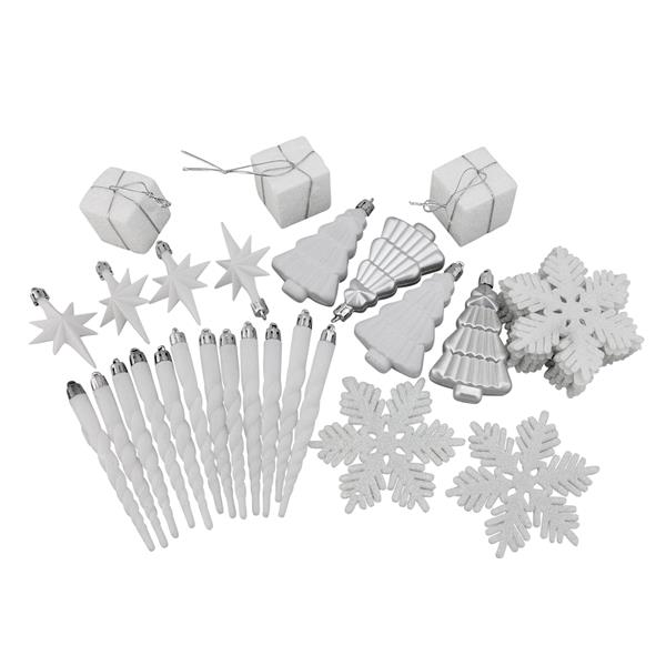 Northlight Shatterproof Christmas Ornament Set - 375 Pieces - White