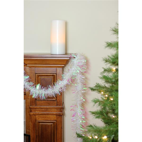 Northlight Iridescent Thick Cut Christmas Tinsel Garland - 50-ft - White