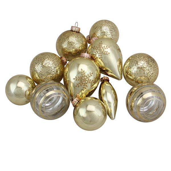 Northlight Collection Asymmetrical Christmas Ornament Set - 36 Pieces - Gold