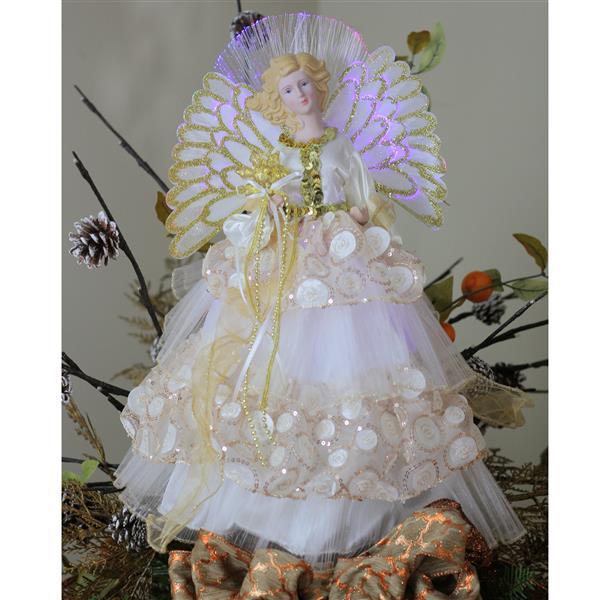 Northlight Fiber Optic Angel Christmas Tree Topper - Cream/Gold